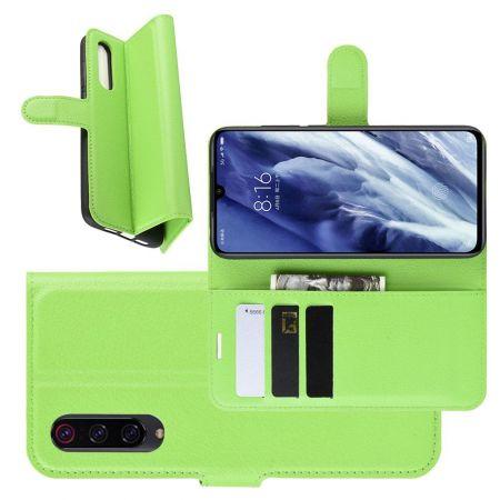 Боковая Чехол Книжка Кошелек с Футляром для Карт и Застежкой Магнитом для Xiaomi Mi 9 Pro Зеленый