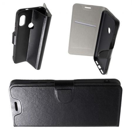 Боковая Чехол Книжка Кошелек с Футляром для Карт и Застежкой Магнитом для Xiaomi Mi A2 Lite / Redmi 6 Pro Черный