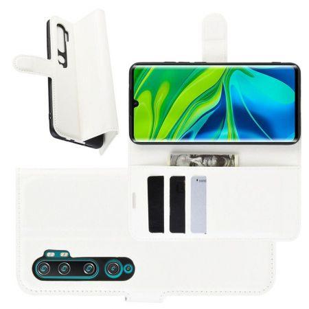 Боковая Чехол Книжка Кошелек с Футляром для Карт и Застежкой Магнитом для Xiaomi Mi Note 10 Белый