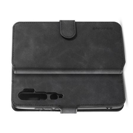 Боковая Чехол Книжка Кошелек с Футляром для Карт и Застежкой Магнитом для Xiaomi Mi Note 10 Черный