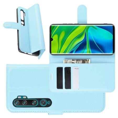 Боковая Чехол Книжка Кошелек с Футляром для Карт и Застежкой Магнитом для Xiaomi Mi Note 10 Голубой