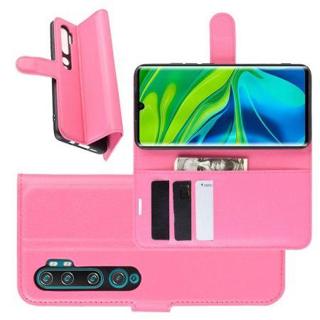 Боковая Чехол Книжка Кошелек с Футляром для Карт и Застежкой Магнитом для Xiaomi Mi Note 10 Розовый