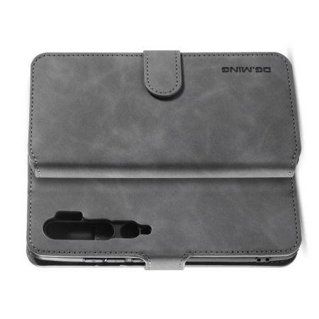 Боковая Чехол Книжка Кошелек с Футляром для Карт и Застежкой Магнитом для Xiaomi Mi Note 10 Серый