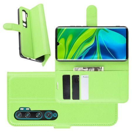 Боковая Чехол Книжка Кошелек с Футляром для Карт и Застежкой Магнитом для Xiaomi Mi Note 10 Зеленый