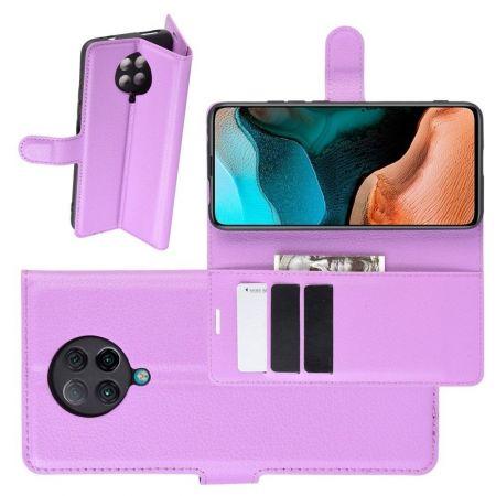 Боковая Чехол Книжка Кошелек с Футляром для Карт и Застежкой Магнитом для Xiaomi Poco F2 Pro Фиолетовый