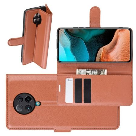 Боковая Чехол Книжка Кошелек с Футляром для Карт и Застежкой Магнитом для Xiaomi Poco F2 Pro Коричневый
