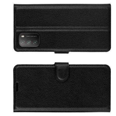 Боковая Чехол Книжка Кошелек с Футляром для Карт и Застежкой Магнитом для Xiaomi Poco M3 Черный