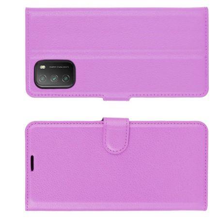 Боковая Чехол Книжка Кошелек с Футляром для Карт и Застежкой Магнитом для Xiaomi Poco M3 Фиолетовый