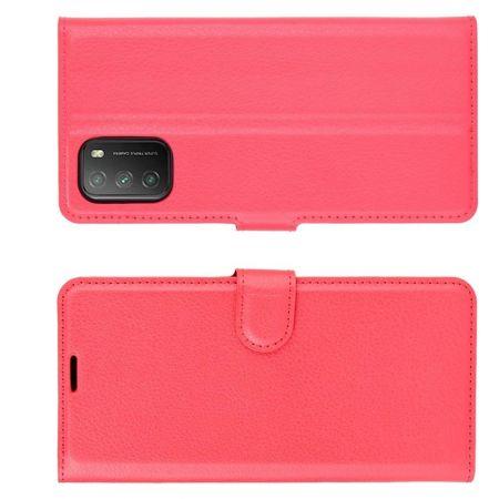 Боковая Чехол Книжка Кошелек с Футляром для Карт и Застежкой Магнитом для Xiaomi Poco M3 Красный
