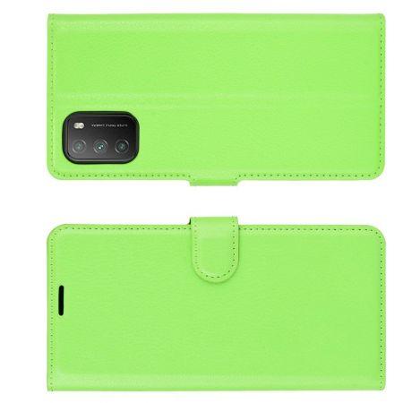 Боковая Чехол Книжка Кошелек с Футляром для Карт и Застежкой Магнитом для Xiaomi Poco M3 Зеленый