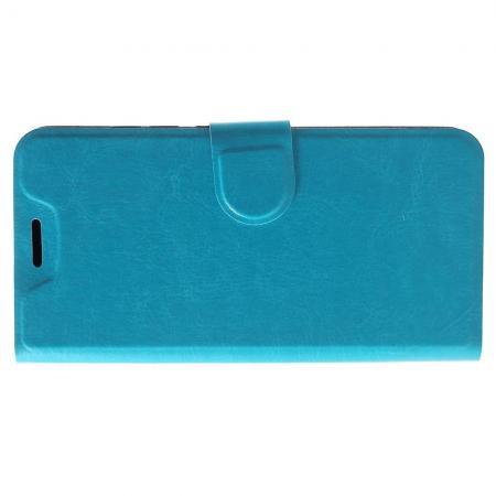 Боковая Чехол Книжка Кошелек с Футляром для Карт и Застежкой Магнитом для Xiaomi Redmi 6 Голубой