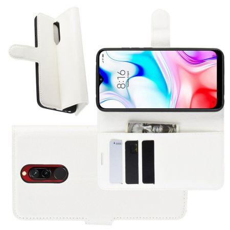 Боковая Чехол Книжка Кошелек с Футляром для Карт и Застежкой Магнитом для Xiaomi Redmi 8 Белый