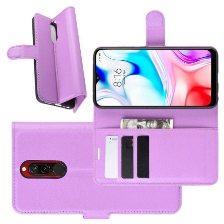 Боковая Чехол Книжка Кошелек с Футляром для Карт и Застежкой Магнитом для Xiaomi Redmi 8 Фиолетовый