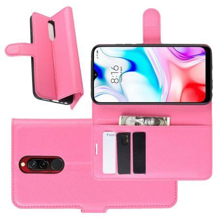 Боковая Чехол Книжка Кошелек с Футляром для Карт и Застежкой Магнитом для Xiaomi Redmi 8 Розовый