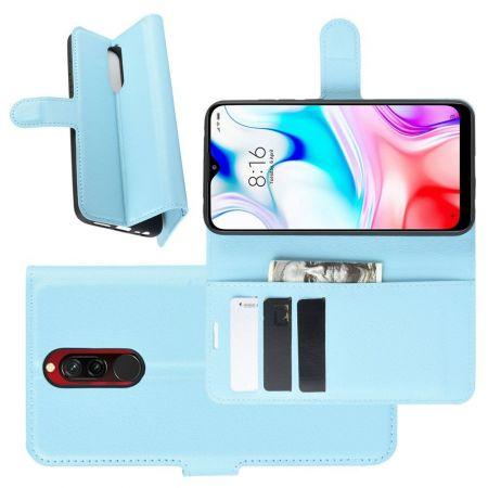 Боковая Чехол Книжка Кошелек с Футляром для Карт и Застежкой Магнитом для Xiaomi Redmi 8 Синий