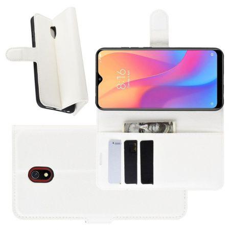 Боковая Чехол Книжка Кошелек с Футляром для Карт и Застежкой Магнитом для Xiaomi Redmi 8A Белый
