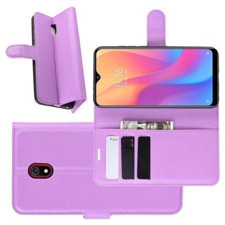 Боковая Чехол Книжка Кошелек с Футляром для Карт и Застежкой Магнитом для Xiaomi Redmi 8A Фиолетовый