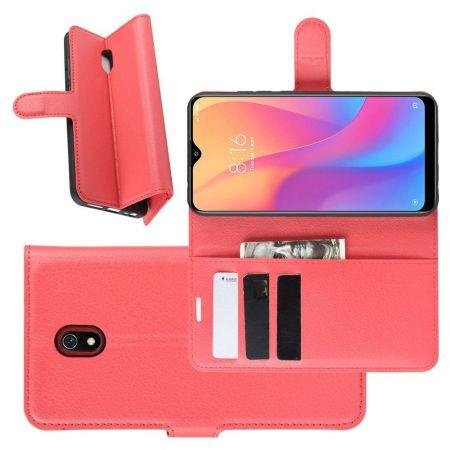 Боковая Чехол Книжка Кошелек с Футляром для Карт и Застежкой Магнитом для Xiaomi Redmi 8A Красный