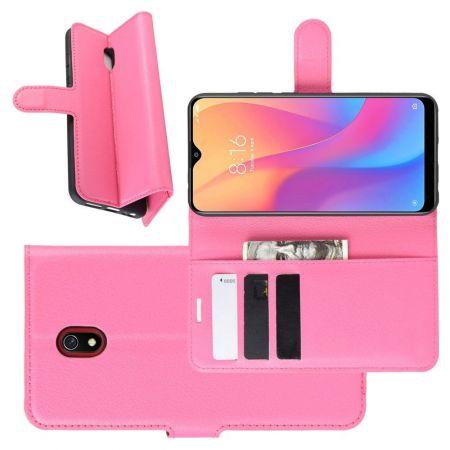 Боковая Чехол Книжка Кошелек с Футляром для Карт и Застежкой Магнитом для Xiaomi Redmi 8A Розовый