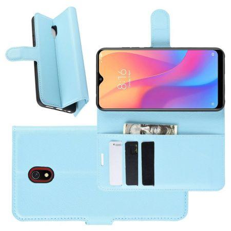 Боковая Чехол Книжка Кошелек с Футляром для Карт и Застежкой Магнитом для Xiaomi Redmi 8A Синий