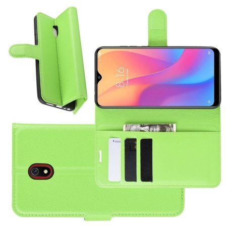 Боковая Чехол Книжка Кошелек с Футляром для Карт и Застежкой Магнитом для Xiaomi Redmi 8A Зеленый