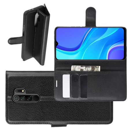 Боковая Чехол Книжка Кошелек с Футляром для Карт и Застежкой Магнитом для Xiaomi Redmi 9 Черный