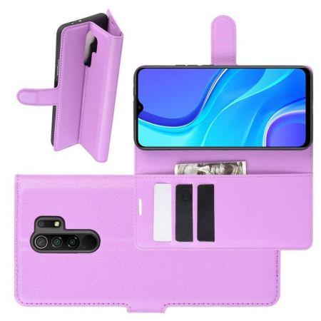 Боковая Чехол Книжка Кошелек с Футляром для Карт и Застежкой Магнитом для Xiaomi Redmi 9 Фиолетовый