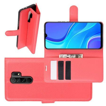 Боковая Чехол Книжка Кошелек с Футляром для Карт и Застежкой Магнитом для Xiaomi Redmi 9 Красный