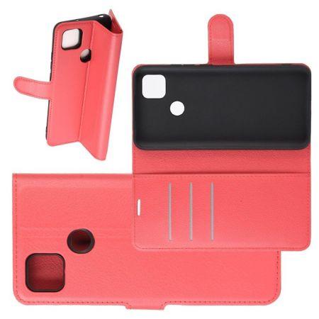 Боковая Чехол Книжка Кошелек с Футляром для Карт и Застежкой Магнитом для Xiaomi Redmi 9C Красный