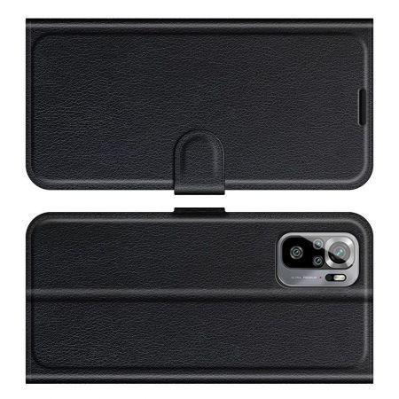 Боковая Чехол Книжка Кошелек с Футляром для Карт и Застежкой Магнитом для Xiaomi Redmi Note 10 Черный