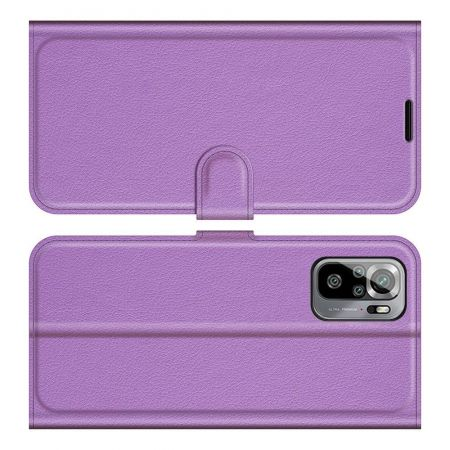 Боковая Чехол Книжка Кошелек с Футляром для Карт и Застежкой Магнитом для Xiaomi Redmi Note 10 Фиолетовый