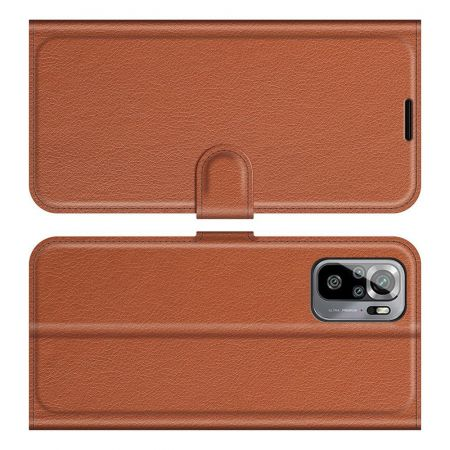 Боковая Чехол Книжка Кошелек с Футляром для Карт и Застежкой Магнитом для Xiaomi Redmi Note 10 Коричневый