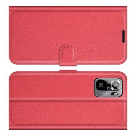 Боковая Чехол Книжка Кошелек с Футляром для Карт и Застежкой Магнитом для Xiaomi Redmi Note 10 Красный