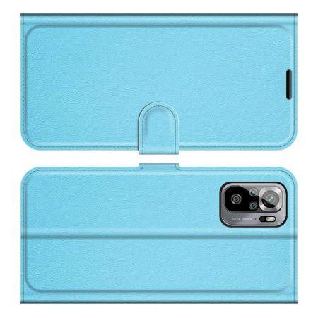 Боковая Чехол Книжка Кошелек с Футляром для Карт и Застежкой Магнитом для Xiaomi Redmi Note 10 Синий