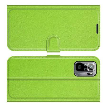 Боковая Чехол Книжка Кошелек с Футляром для Карт и Застежкой Магнитом для Xiaomi Redmi Note 10 Зеленый