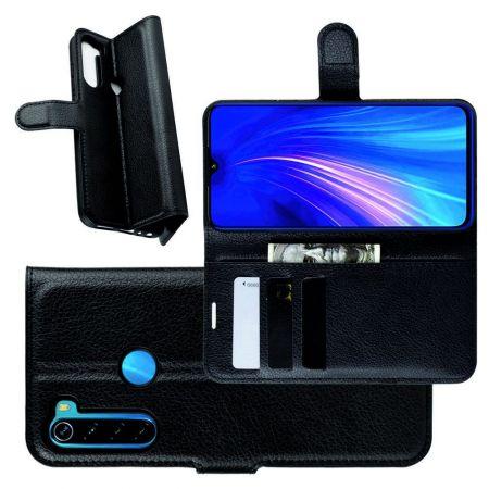Боковая Чехол Книжка Кошелек с Футляром для Карт и Застежкой Магнитом для Xiaomi Redmi Note 8 Черный