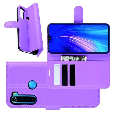 Боковая Чехол Книжка Кошелек с Футляром для Карт и Застежкой Магнитом для Xiaomi Redmi Note 8 Фиолетовый