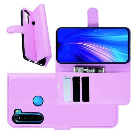 Боковая Чехол Книжка Кошелек с Футляром для Карт и Застежкой Магнитом для Xiaomi Redmi Note 8 Светло Розовый