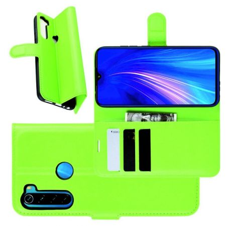 Боковая Чехол Книжка Кошелек с Футляром для Карт и Застежкой Магнитом для Xiaomi Redmi Note 8 Зеленый