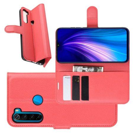 Боковая Чехол Книжка Кошелек с Футляром для Карт и Застежкой Магнитом для Xiaomi Redmi Note 8T Красный