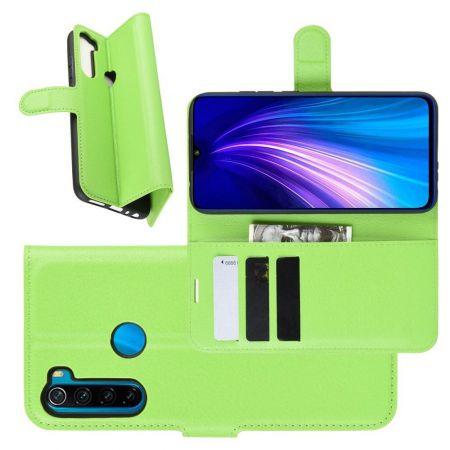 Боковая Чехол Книжка Кошелек с Футляром для Карт и Застежкой Магнитом для Xiaomi Redmi Note 8T Зеленый
