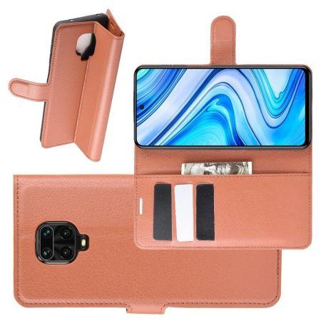 Боковая Чехол Книжка Кошелек с Футляром для Карт и Застежкой Магнитом для Xiaomi Redmi Note 9 Pro / 9S / / 9S Коричневый