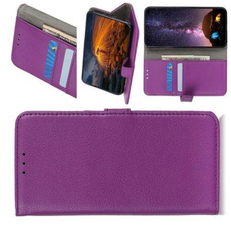 Боковая Чехол Книжка Кошелек с Футляром для Карт и Застежкой Магнитом для Xiaomi Redmi Note 9 Pro Фиолетовый