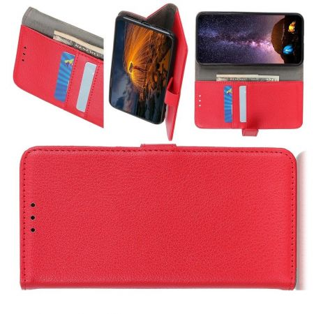 Боковая Чехол Книжка Кошелек с Футляром для Карт и Застежкой Магнитом для Xiaomi Redmi Note 9 Pro Красный