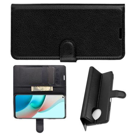 Боковая Чехол Книжка Кошелек с Футляром для Карт и Застежкой Магнитом для Xiaomi Redmi Note 9T Черный