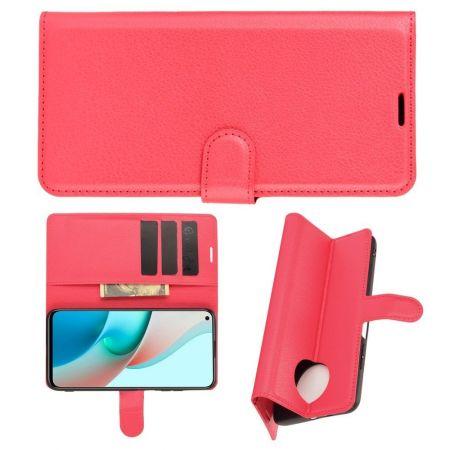 Боковая Чехол Книжка Кошелек с Футляром для Карт и Застежкой Магнитом для Xiaomi Redmi Note 9T Красный