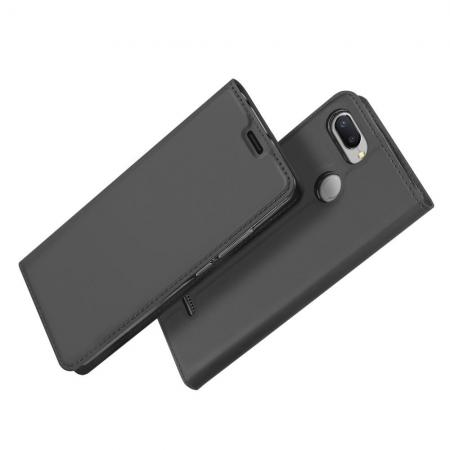 Тонкий Флип Чехол Книжка с Скрытом Магнитом и Отделением для Карты для Xiaomi Redmi 6 Черный