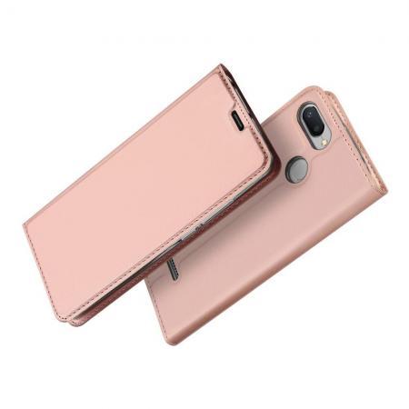Тонкий Флип Чехол Книжка с Скрытом Магнитом и Отделением для Карты для Xiaomi Redmi 6 Розовое Золото