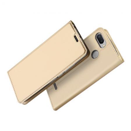 Тонкий Флип Чехол Книжка с Скрытом Магнитом и Отделением для Карты для Xiaomi Redmi 6 Золотой