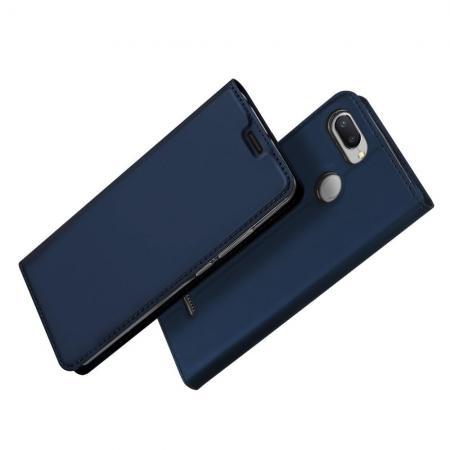 Тонкий Флип Чехол Книжка с Скрытым Магнитом и Отделением для Карты для Xiaomi Redmi 6 Синий